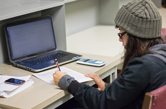a student looking at the class schedule online
