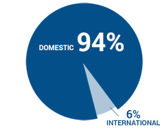 Pie chart of domestic vs international students at CSUF