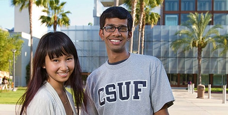 male and female student on Cal State Fullerton campus