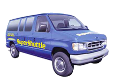 Super Shuttle blue van.
