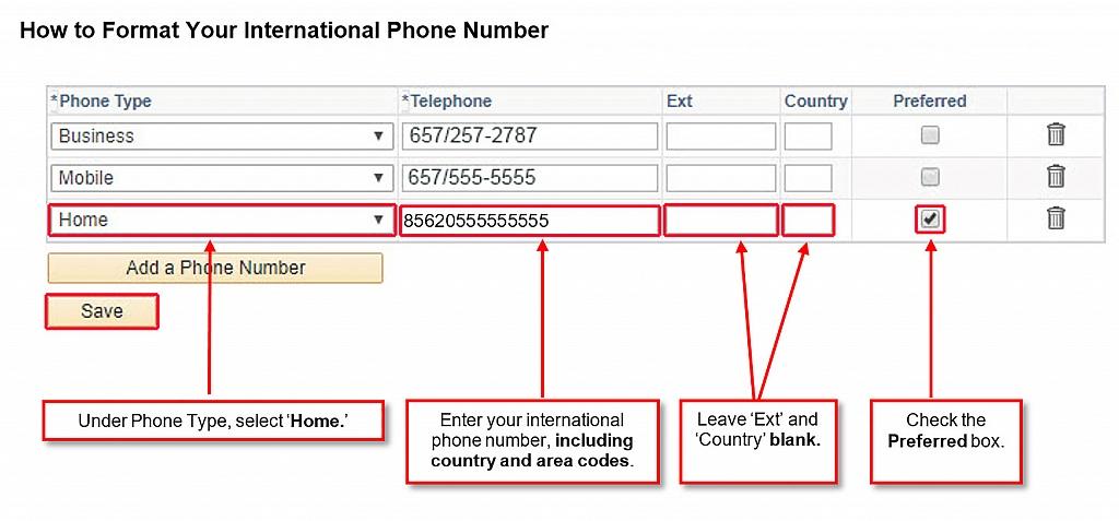 screenshot of updating phone number