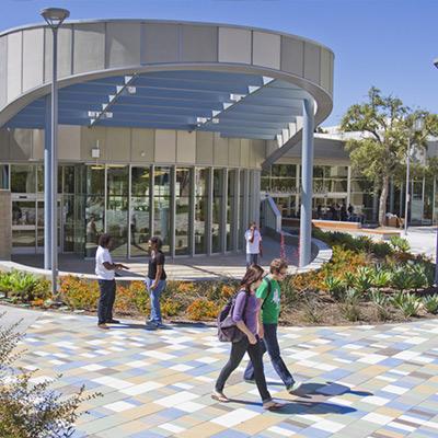 CSUF students walking at University Village