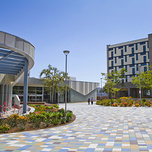 Wide shot of International Student Housing at CSUF