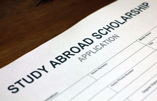 Close-up of Study Abroad scholarship application
