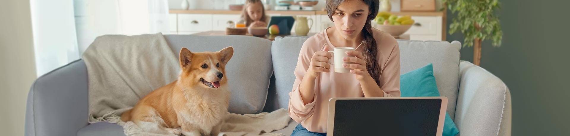 Woman looking out the window and thinking about her professional future.