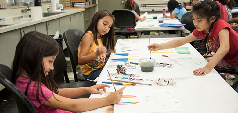 kids working on art projects